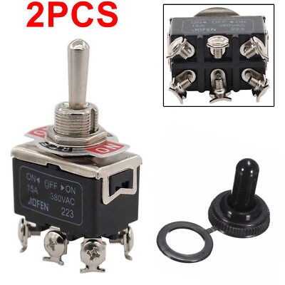 2x High Quality Waterproof Boot Cap DPDT Momentary Toggle Switch ON/OFF/ON Amp