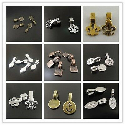 Atq Silver Gold Bronze Alloy Vintage Glue On Bail Pendant Jewelry Making