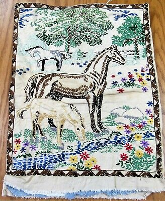 """Vintage Embroidered horse picture unfinished 14"""" x 18"""" for framing pillow"""