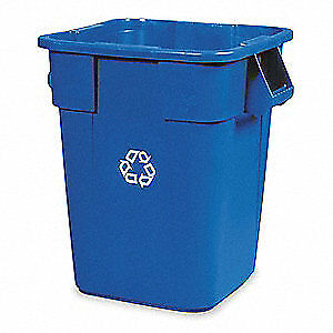 RUBBERMAID Polyethylene Recycling Container,Blue,40 gal., FG353673BLUE, Blue
