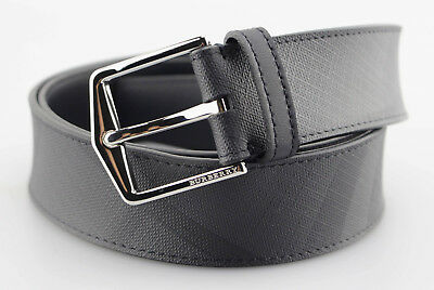 5b36261be856 Men s BURBERRY LONDON  Check  Black Charcoal Leather Belt - Size 42