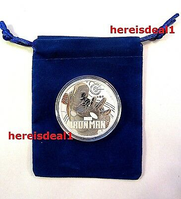 2018 Marvel IRON MAN 1 oz Tuvalu Silver Coin BU In Capsule with Blue Velour Bag