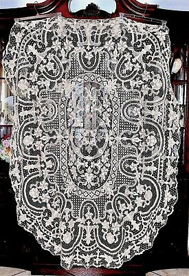 Antique Point De Venise Italian Needlelace Oval Tablecloth 86x66in
