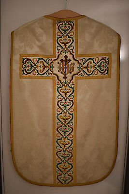 antikes weisses Messgewand, Kasel , Casel, Chasuble (0422)
