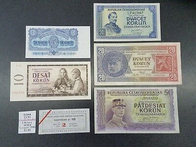 Lot Of 5 Czechoslovakia Notes 3 10 20 50 Korun & Ljubljana Ration Coupon #23
