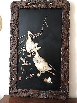 Meiji Shibayama Mother Pearl Geese ,Dragon Carved Frame ,  Lacquered Wall Panel