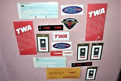 1987 Twa Airlines 15 Ticket Jackets Luggage Bag Tags Stickers Label Set Mix Lot