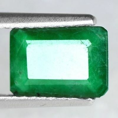 1.01 Cts Natural Top Green Emerald Loose Gemstone Emerald Cut Untreated Zambia