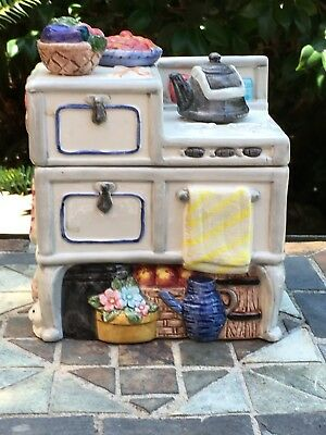 Fitz & Floyd County Stove With Bunnies Cookie Jar