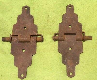 Vintage ~  Hinges ~ 2 Piece Set ~ Cast Iron ~ Box ~Barn  ~ Stable ~ 8 Inch