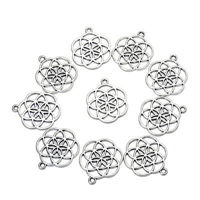 30pcs/lot zinc alloy antique vintage silver plated flower charm pendants for Bra
