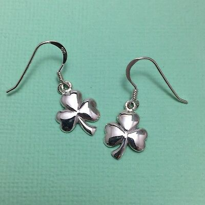 Irish Shamrock Solid Sterling Silver 925 Earrings on Hooks Ireland Symbolism