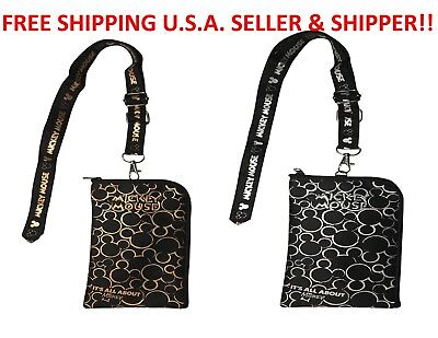Mickey Mouse Lanyard Mickey Lanyard Cell Phone ID Holder Case Coin Badge 2 Color
