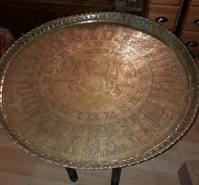 Large Antique Egyptian Brass Tray Top Table.