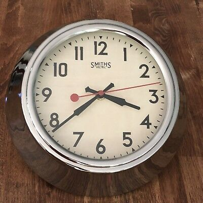 "Smith Sectric Chrome Vintage Modern.Retro 10"" Dia Wall Clock Replica  EXCELLENT"