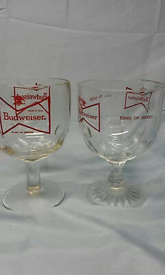2 Vintage Budweiser Red Bowtie Goblet Glasses Heavy, 2 Different Styles