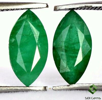 2.23Cts Certified Natural Emerald Marquise Cut Pair 10x5 mm Untreated Loose Gems