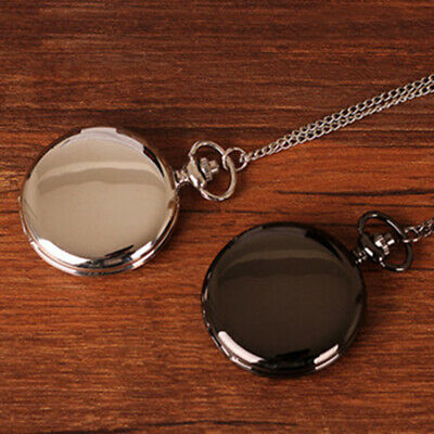 Luxury Black/Silver Smooth Quartz Pocket Watch Necklace Pendant Women Men GIfts