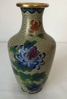 Chinesische Cloisonne Vase,chrysanthemen, Emailltechnik Messing