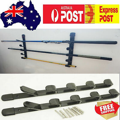 AU Horizontal Wall Mount Fishing Rod Rack Holder Stand Storage Holds up to 5 Rod