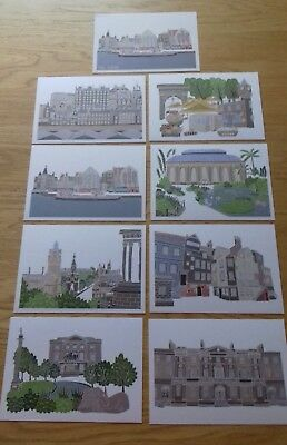 Lot of Nine Art Postcards of Edinburgh by Victoria Rose Ball