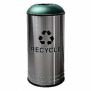 TOU Stainless Steel Recycling Receptacle,Slvr, G, 18 gal., 34AU91, Silver, Green