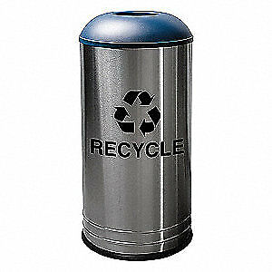 T Stainless Steel Recycling Receptacle,Slvr, Blue, 18 gal., 34AU92, Silver, Blue