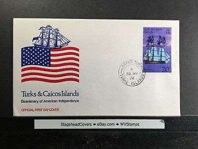 Turks and Caicos Islands FDC 28 May 1976 US Bicentennial 1776-1976 Ships