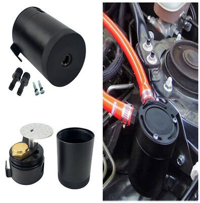 New 0.4L Car Engine 2-Port Baffled Aluminum Oil Catch Can Tank Air Oil Separator