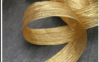 1M 2M 5M X 63MM Wire Edge Hessian Wrinkled Gold Ribbon Christmas Wedding Party