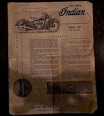 History 1945 Indian Chief Motorcycle Model 346 War Time Brochure Original RARE