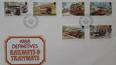 Isle of man  1988 first day issue railway & tramway Stamps