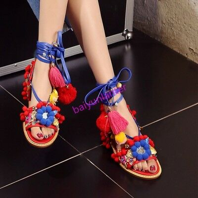 Womens Chinese Style Flower Decor Rhinestone Metal Multi Color Open Toe Shoes Sz