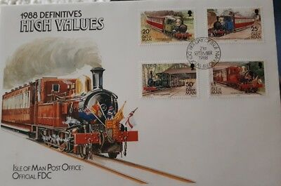 Isle of man  1988 first day issue train Stamps