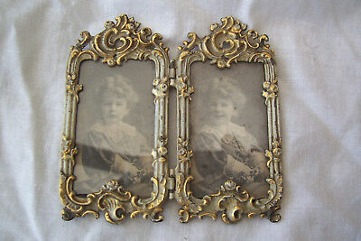 VICTORIAN 1898 GILT  PHOTO FRAME WITH young child double PHOTO