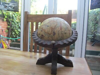 Vintage Spanish Desk Spinning Rotating World Globe With Wooden Stand