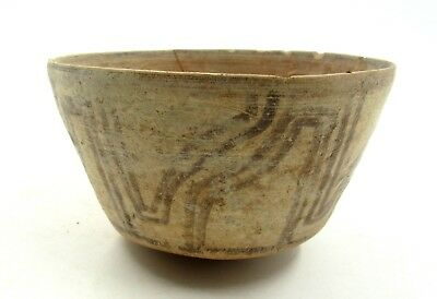 Authentic Ancient Indus Valley Terracotta Bowl W/ Geometric Motif - L346