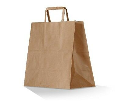 50-250 x KRAFT Brown Paper Carry Bags Flat Handle Takeaway Food Cafe 3 SIZES