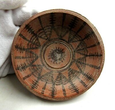 Authentic Ancient Indus Valley Terracotta Bowl W/ Geometric Motif - L349