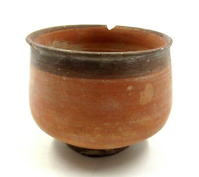 Authentic Ancient Indus Valley Terracotta Bowl W/ Geometric Motif - L350