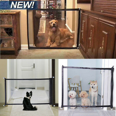 S/M Magic Mesh Pet Dog Gate Door Barrier Safe Guard Fence Enclosure Easy Install