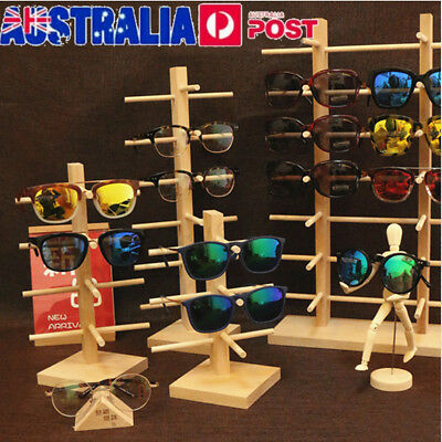 Multi Sizes Wooden Sunglasses Eye Glasses Display Rack Stand Holder Organizer AU