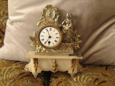 Antique Brass and Porcelian clock Mantel with Key Working order