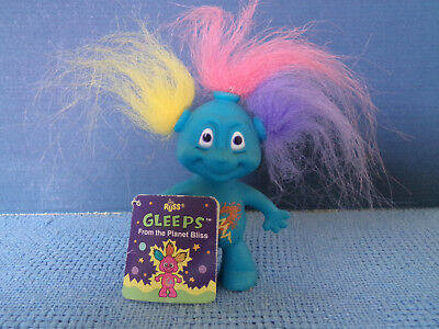 RUSS GLEEP ALIEN TROLL ~ 8 cm *14022 * BLUE MULTICOLOURED HAIR AND TAG * VGC