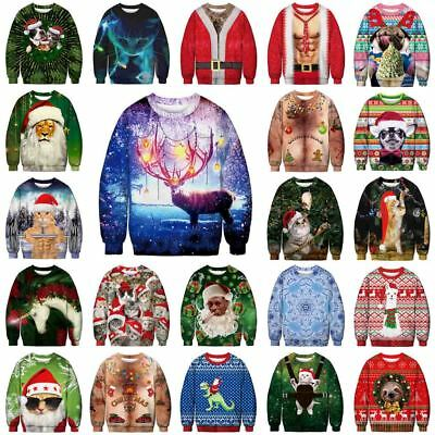 UGLY XMAS CHRISTMAS SWEATER Vacation Santa Elf Popular Women Men Sweatshirt Gift