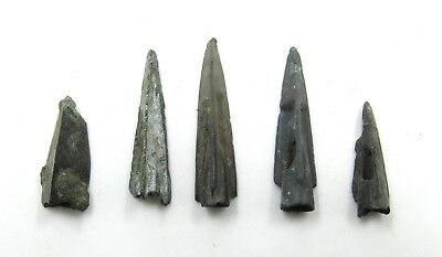 Authentic Lot Of 5 Ancient Scythian Bronze Arrow Heads - G659