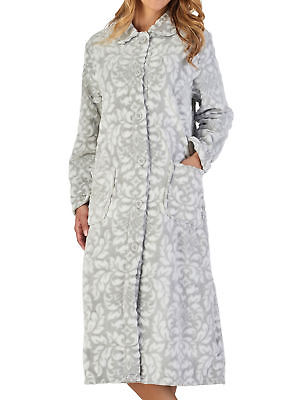 Dressing Gown Womens Floral Button Up Flannel Fleece Robe Slenderella  Housecoat babcf7ed9