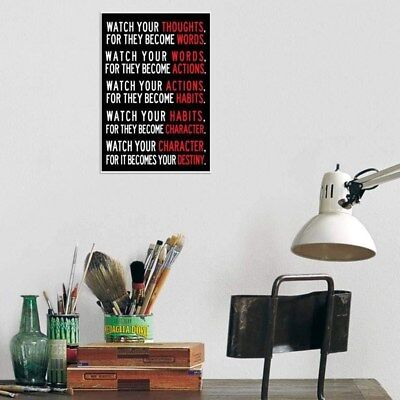 Watch Your Thoughts Motivational Poster English Letters Retro Wall Hanging