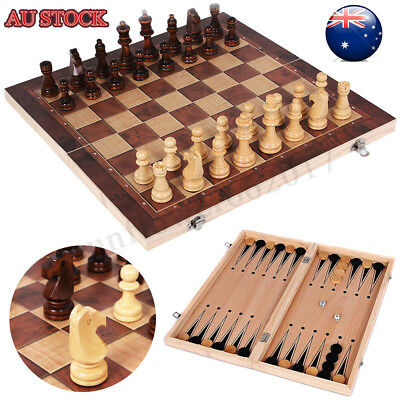 34*34cm Folding Wooden Chess Set Chessboard Pieces Wood Board Kid Learning Toy