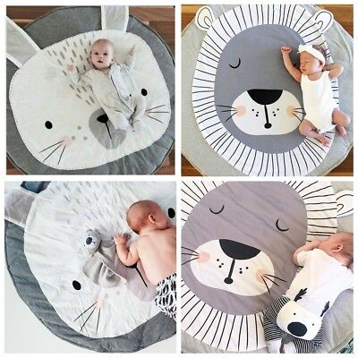 Rabbit Soft Cotton Baby Gym Mat  Lay Sit Game Toy Tummy Time Blanket Floor Rug